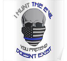 BLUE Line Skull Poster