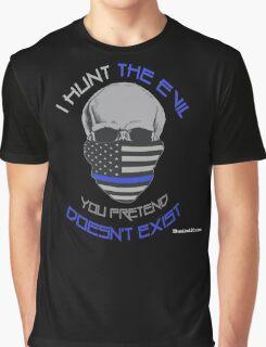 BLUE Line Skull Graphic T-Shirt