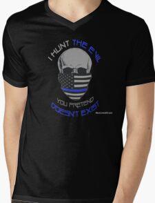 BLUE Line Skull Mens V-Neck T-Shirt