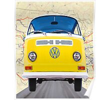 Golden Yellow VW Campervan Map Collage Poster