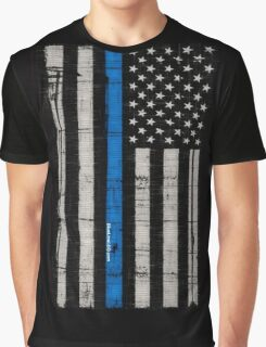 Police blue line Flag Graphic T-Shirt