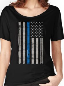 Police blue line Flag Women's Relaxed Fit T-Shirt