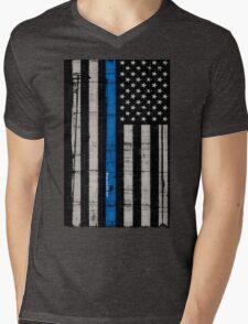 Police blue line Flag Mens V-Neck T-Shirt
