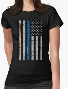 Police blue line Flag Womens Fitted T-Shirt