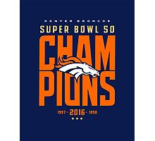 Broncos Super Bowl Champions BLUE Photographic Print