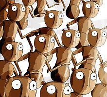 Dancing Wooden Robot Gopher Army by roboinvisabunny