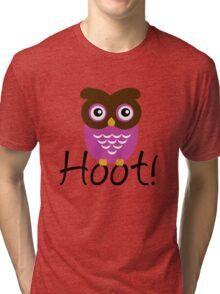 Pink Owl Hoot! Tri-blend T-Shirt