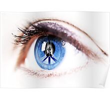 Peace sign on retina of woman  Poster