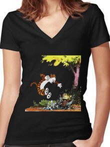 Calvin and Hobbes Playground Women's Fitted V-Neck T-Shirt