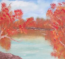 Paperbarks on the bank. by Easel