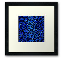 Blue Black Cheetah Abstract Pattern  Framed Print