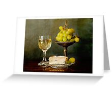 Gourmet snack, cheese grapes and white wine Greeting Card