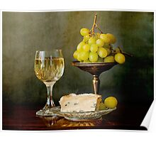 Gourmet snack, cheese grapes and white wine Poster