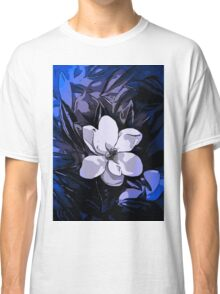 Beautiful Vibrant Blue White Abstract Flower  Classic T-Shirt