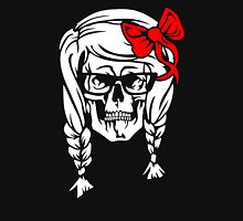 Skull With Pigtails Funny Woman's Tshirt T-Shirt