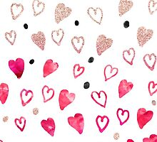 Modern hand drawn hearts pink glitter watercolor by GirlyTrend