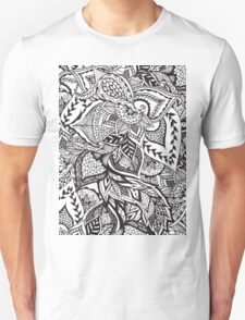 Black and white modern floral hand drawn pattern T-Shirt