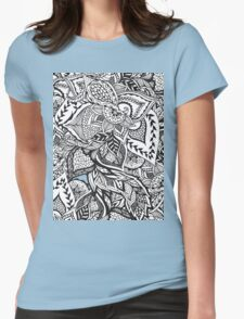 Black and white modern floral hand drawn pattern Womens Fitted T-Shirt