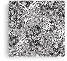 Black and white modern floral hand drawn pattern Canvas Print