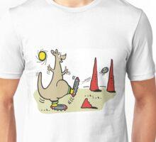 Cartoon kangaroo kicking football in Australian outback Unisex T-Shirt