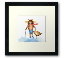 Cute hand drawn watercolor cartoon fox traveler on the top of the hill. Framed Print