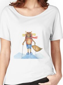 Cute hand drawn watercolor cartoon fox traveler on the top of the hill. Women's Relaxed Fit T-Shirt