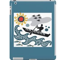 Stylized native in canoe design with waves and fish iPad Case/Skin