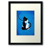 Blue White And Black Cats In Love Framed Print