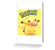 Cute pikachu with candy Greeting Card