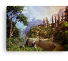 Elves and castle Canvas Print