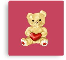 Pink Cute Teddy Bear Canvas Print