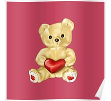 Pink Cute Teddy Bear Poster