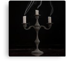 Candelabra with Smoking candles Canvas Print