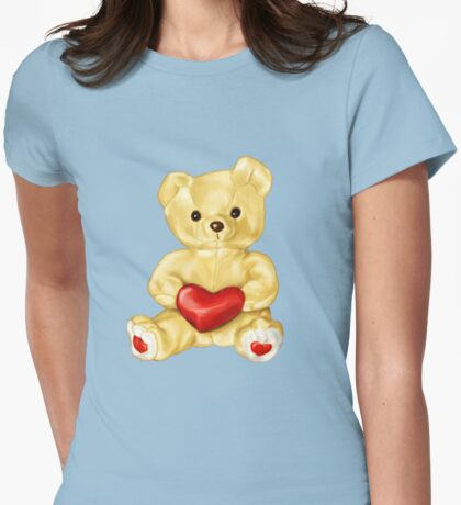 Blue Cute Teddy Bear Womens Fitted T-Shirt