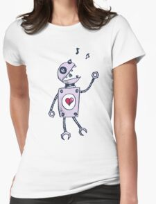 Happy Singing Robot Womens Fitted T-Shirt