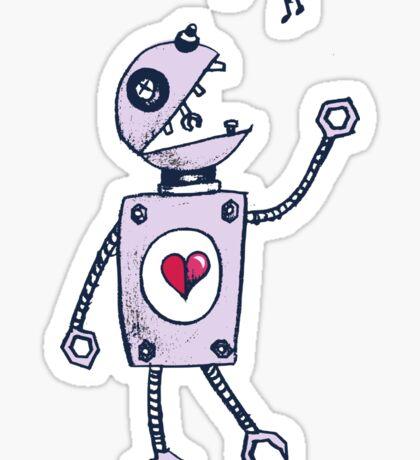 Happy Singing Robot Sticker