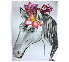 horse with pink Flowers Poster