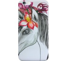 horse with pink Flowers iPhone Case/Skin