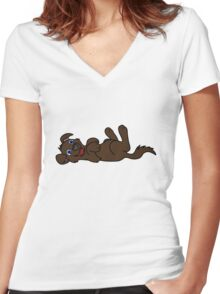 Chocolate Dog - Roll Over Women's Fitted V-Neck T-Shirt