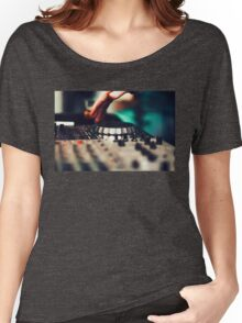 Club DJ playing mixing music on vinyl turntable Women's Relaxed Fit T-Shirt