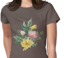 Vintage Watercolor Bouquet Yellow Pink Womens Fitted T-Shirt