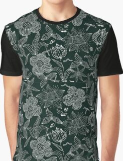 White on Black: Doodle Flowers Graphic T-Shirt