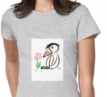 Penguin & flower Womens Fitted T-Shirt