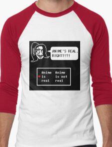 Undyne:anime is real right?!?!? Men's Baseball ¾ T-Shirt