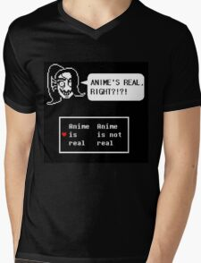 Undyne:anime is real right?!?!? Mens V-Neck T-Shirt