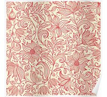 Floral pattern in doodle style in retro colors Poster