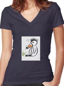 Penguin & bee Women's Fitted V-Neck T-Shirt