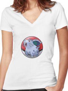 Nidoran (female) pokeball - pokemon Women's Fitted V-Neck T-Shirt