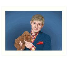 Martin Freeman with Puppy Art Print