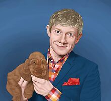 Martin Freeman with Puppy by selenaguardi
